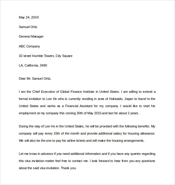 invitation letters for us visa in pdf