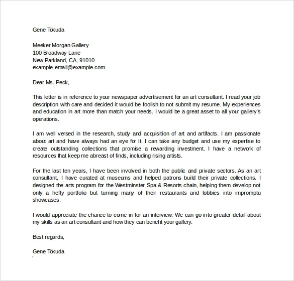 bridal consultant cover letter