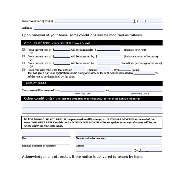 Lease Renewal Agreement Template Lease Extension Form California