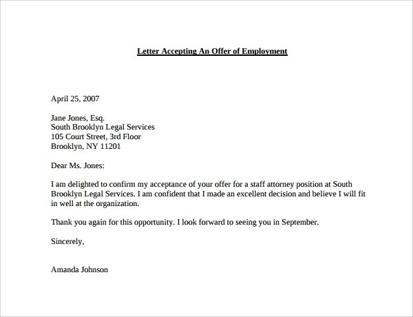 Thank You Letter After Job Acceptance | Docoments Ojazlink