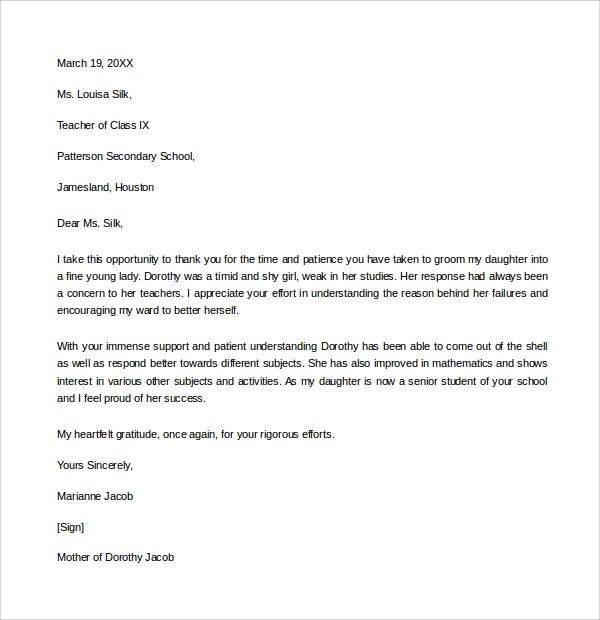 sample thank you letter example 9 download free documents in pdf