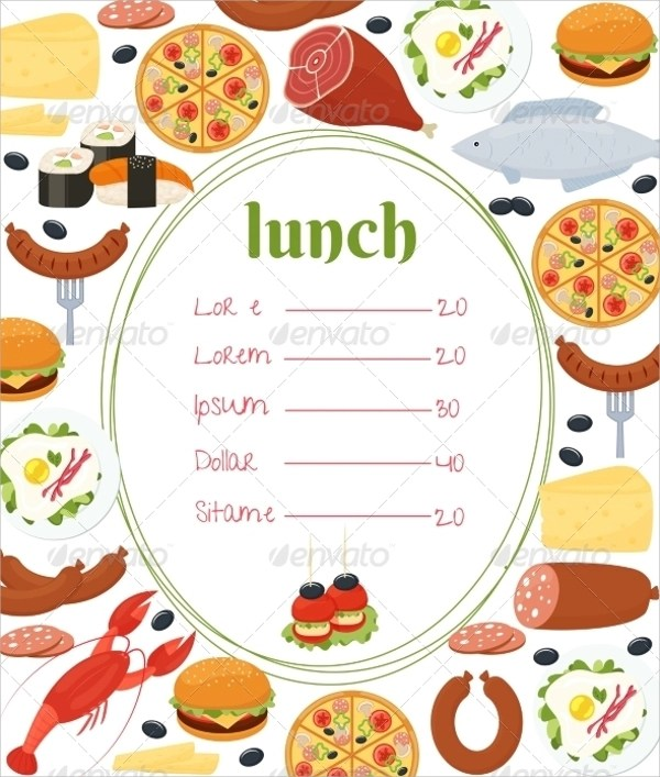 Sample Lunch Menu Template 14 Download Documents In PDF PSD