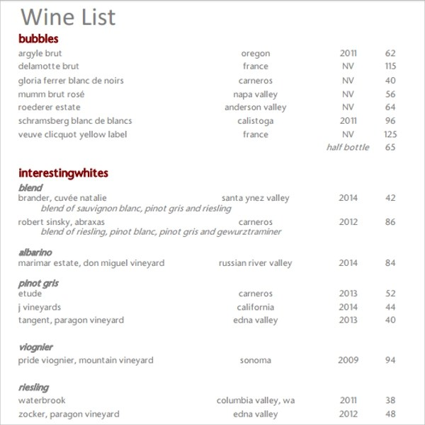 Free Wine List Template