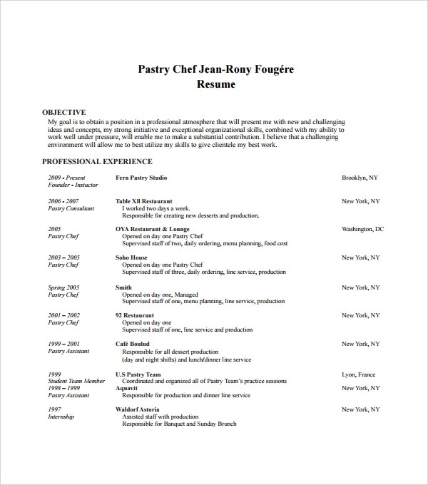 Chef Resume Format | Resume Format and Resume Maker