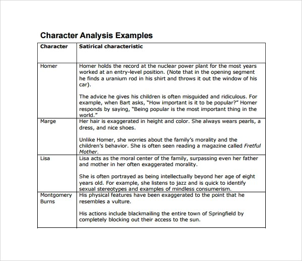 Character Analysis Template      character analysis template and