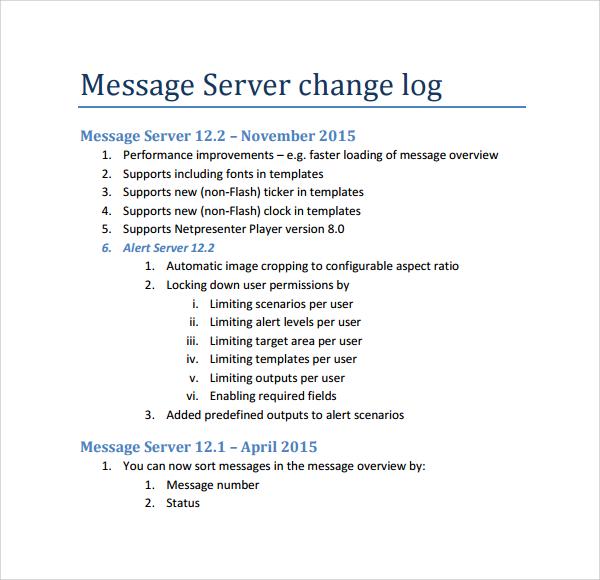 Doc1152249 Change Log Template Change Log Template Download – Change Log Template