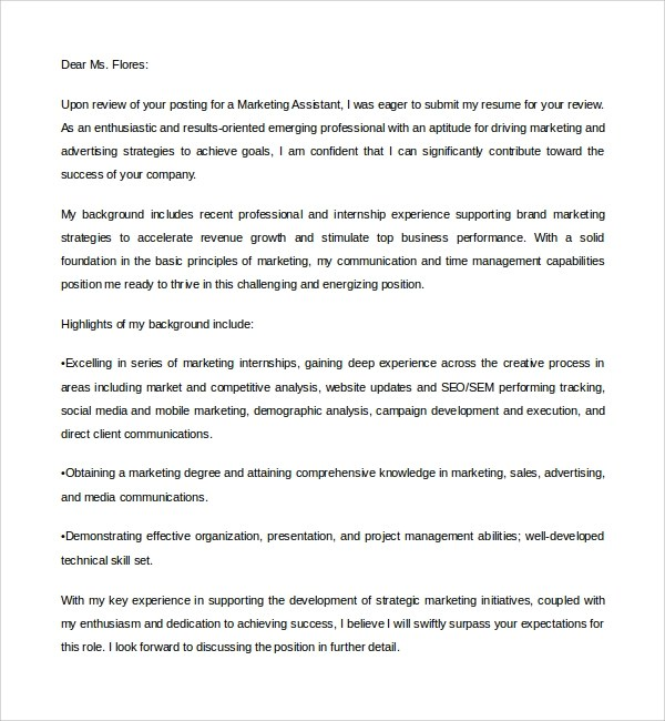 Digital Marketing Assistant Cover Letter Example CV Plaza – Marketing Cover Letter