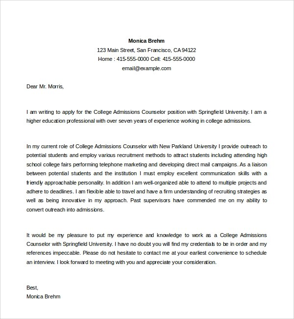 Admission Counselor Cover Letter Sample Admission Counselor Cover