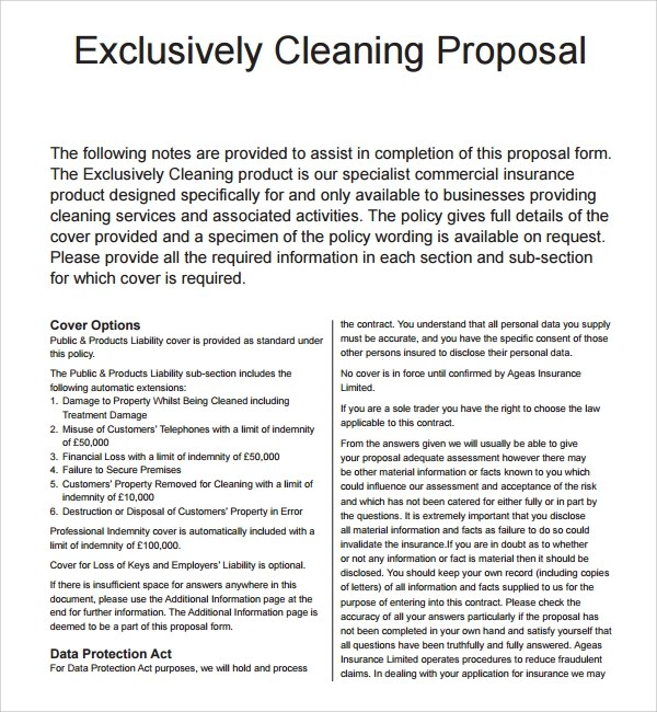 16 Cleaning Proposal Templates Pdf Word