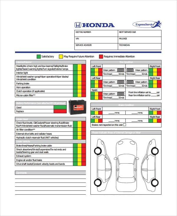 Multi Point Vehicle Inspection Checklist Template diagram safety checklist file mu38419