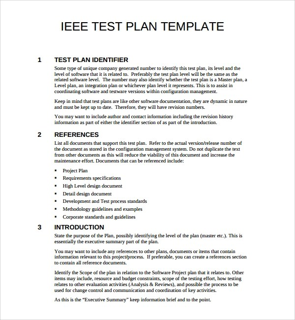 Software Test Plan Template Format Sample Of Sample Software