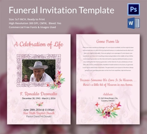 Doc531697 Funeral Ceremony Invitation August Anderssons – Funeral Announcement Template Free