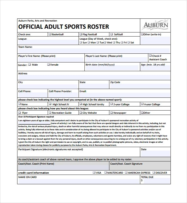 Doc510382 Sports Roster Template Sports roster and schedule – Football Roster Template