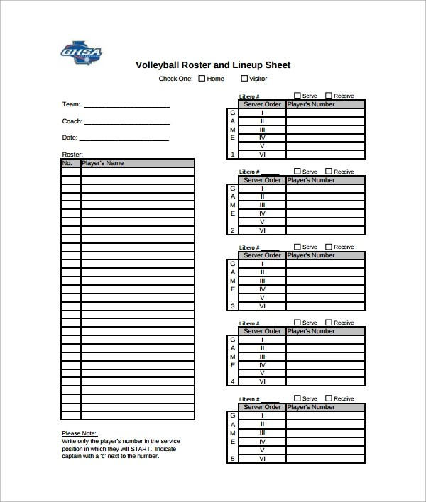Sample Volleyball Roster Template 6 Free Documents Download In Word PDF