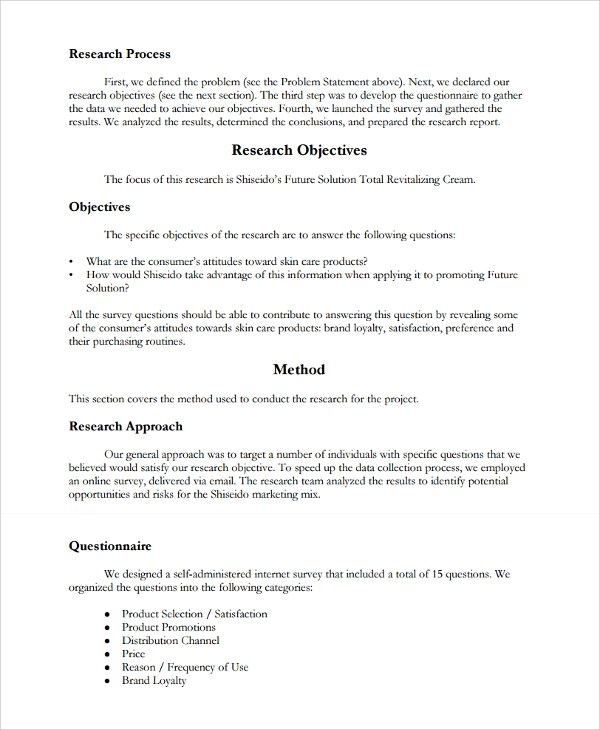 Sample Market Research Report Template  Apa Research Paper