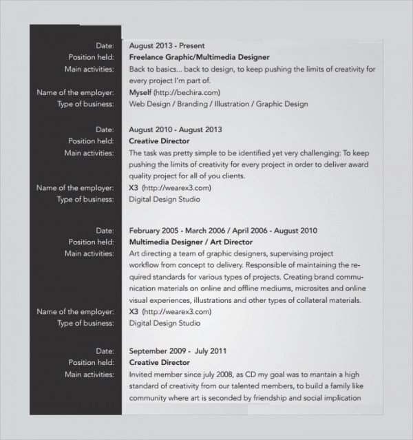 Sample Freelance Resume Template 8 Free Documents Download In PDF Word