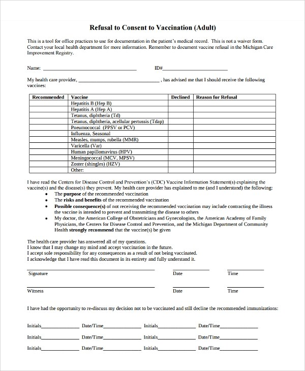 8 Vaccine Consent Forms Sample Templates