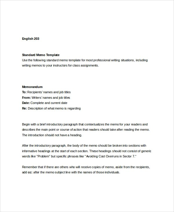 Standard Memo Format Example  Free Download