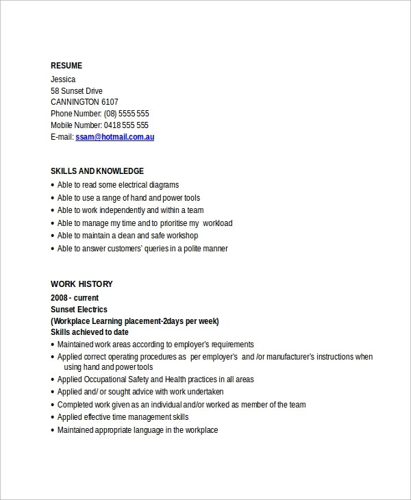Electrician Resume. Create A Resume Free Resume My Perfect Resume