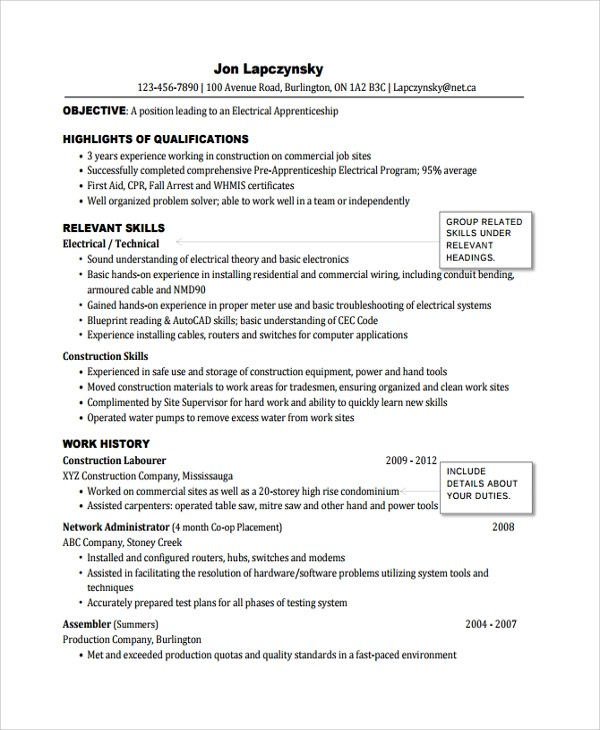 Objective For Journeyman Electrician Resume. Resume Objective