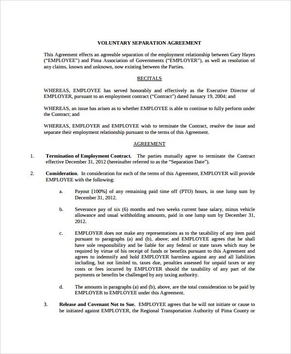 Sample Employment Separation Agreement 11 Free Documents