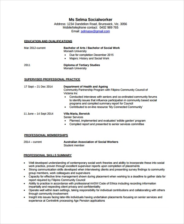Social Worker Resume Templates In Pdf