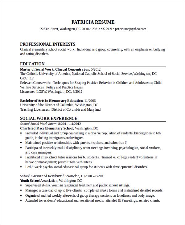 Social Work Resumes. Sample Social Work Resumes Resume Examples