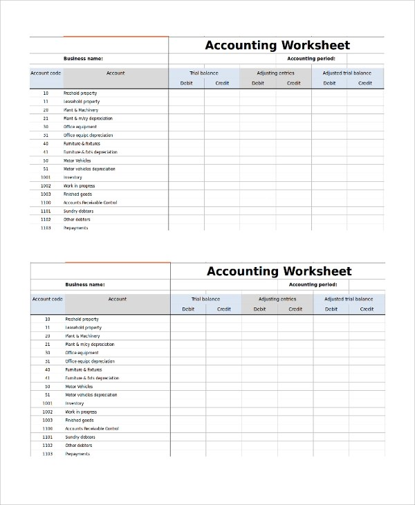 Free 9 Sample Accounting Worksheet Templates In