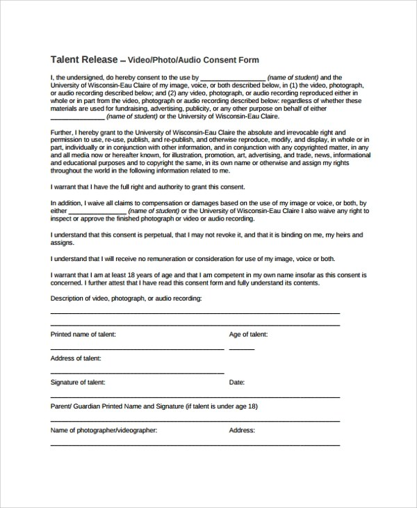 Sample Talent Release Form Template 9 Free Documents