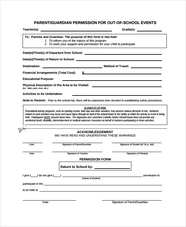 Sample Permission Form Template 9 Free Documents Download In PDF