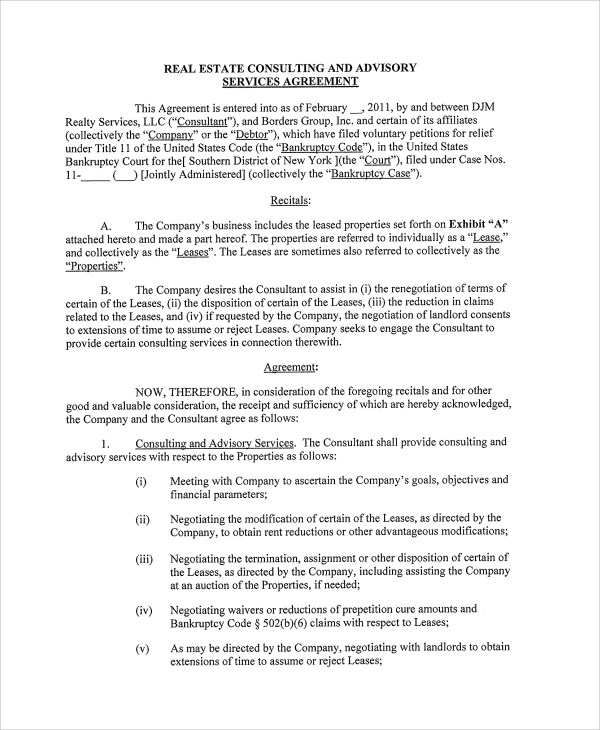 Sample Real Estate Consulting Agreement Templates 9 Documents Download In PDF Word Google