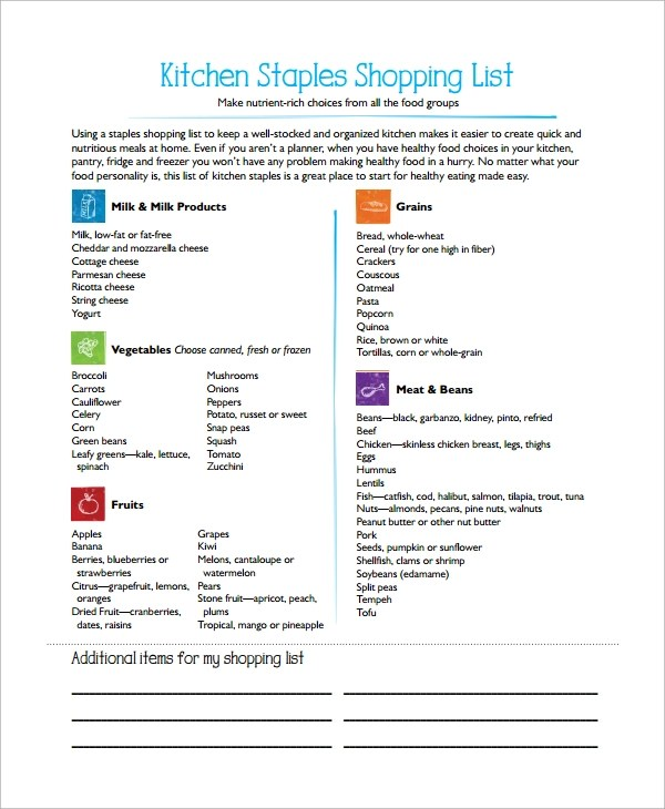 Sample Grocery List 20 Documents In Pdf