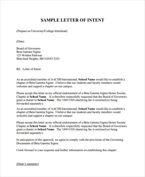 Sample Of Intent Letter For Accreditation | Docoments Ojazlink