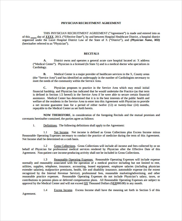 Sample Physician Employment Agreement 7 Documents In Pdf