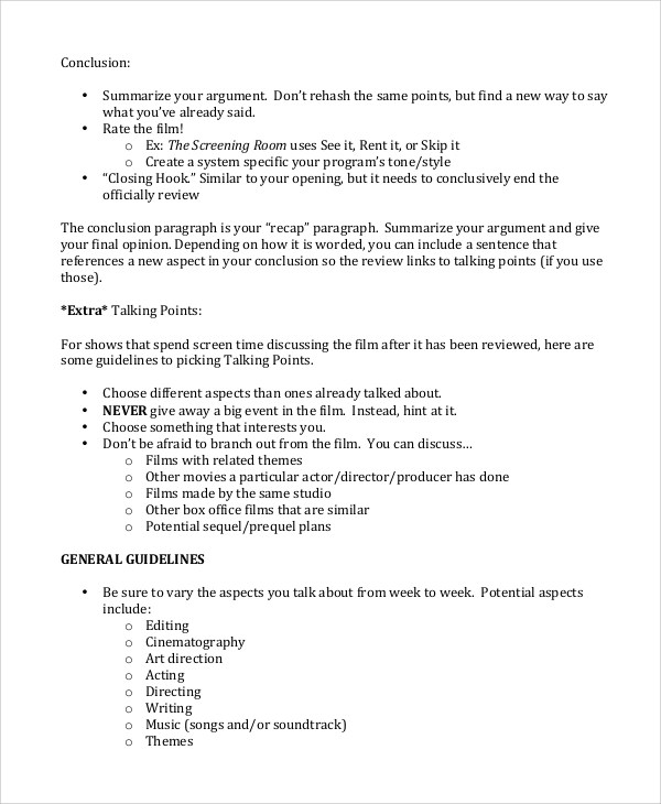 8 Sample Movie Reviews Word PDF