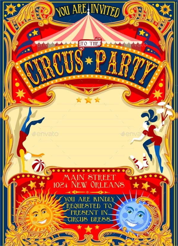Free 11 Circus Party Invitation Templates In Psd Eps Ai Ms Word Apple Pages Publisher Indesign