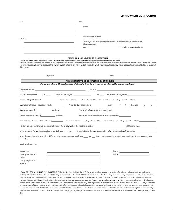 Verification Of Employment Form Template - FREE DOWNLOAD