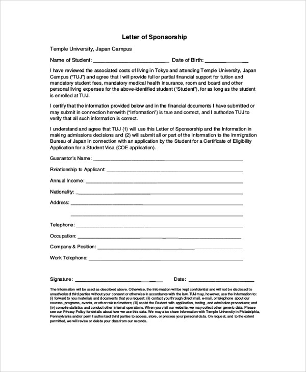 Sponsor Letter For Visa  Docoments Ojazlink