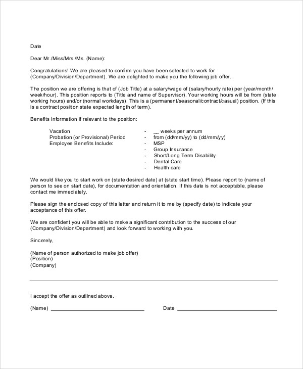 Sample Of Employment Offer Letter  Docoments Ojazlink