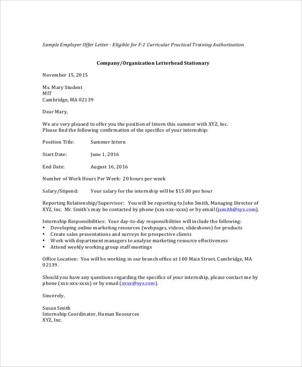 Sample Offer Letters  Docoments Ojazlink