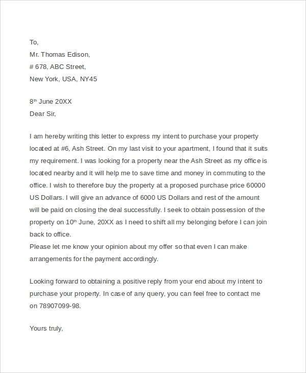 Sample Offer Letter For House  Ex