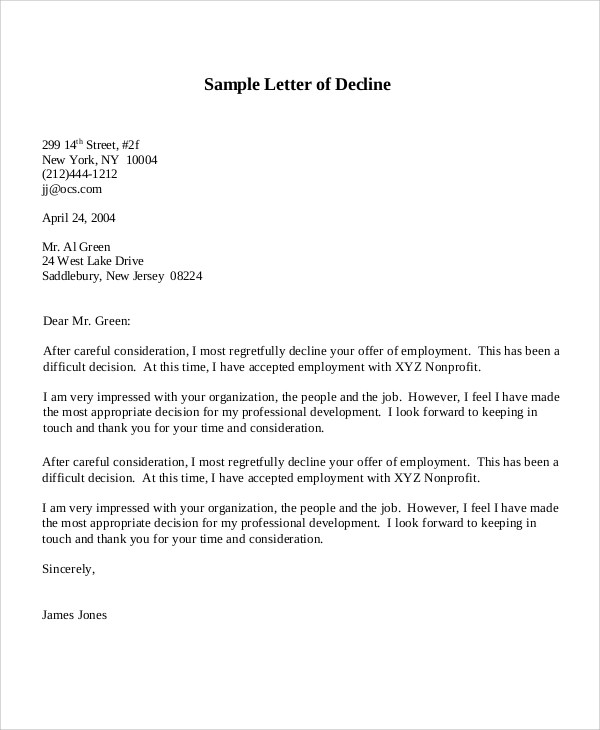 sample letter to decline job offer after accepting