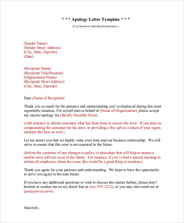 Apology letter sample for mistake doc dulahotw 6 sample sincere apology letters templates wajeb Images