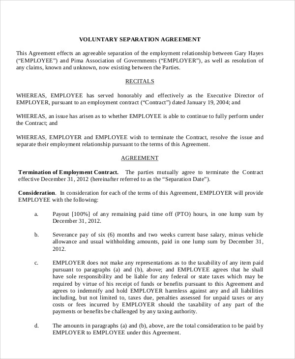 Sample Employment Separation Agreement 8 Documents In Pdf