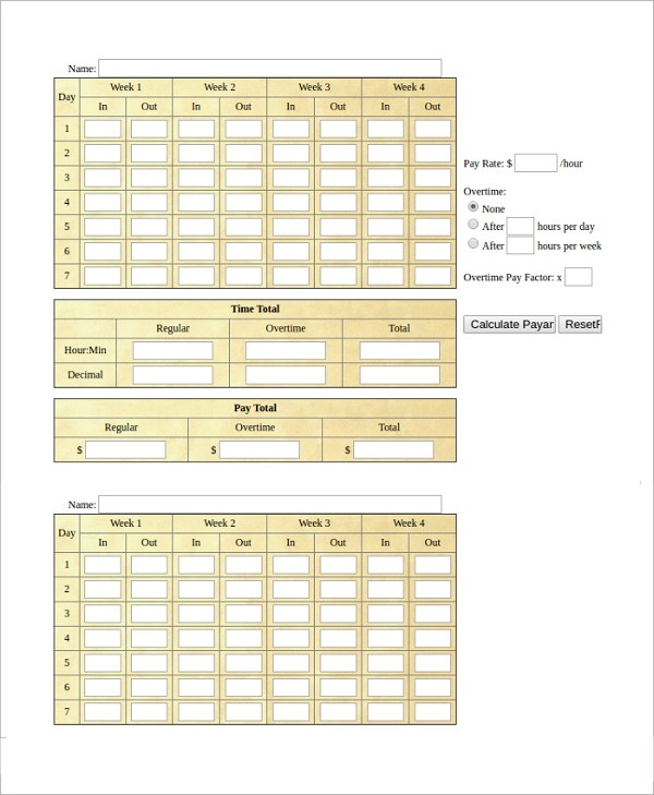 Military Time Card Calculator Online | Infocard.Co