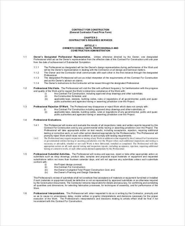 9 Sample Construction Contractor Agreements Word Pdf Pages