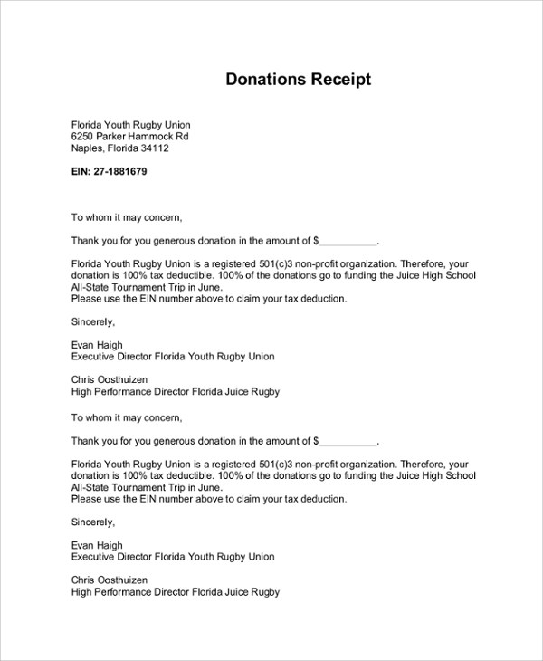 Acknowledgement Receipt Letter Template.Non Profit Donation Receipt Letter Template Free Download