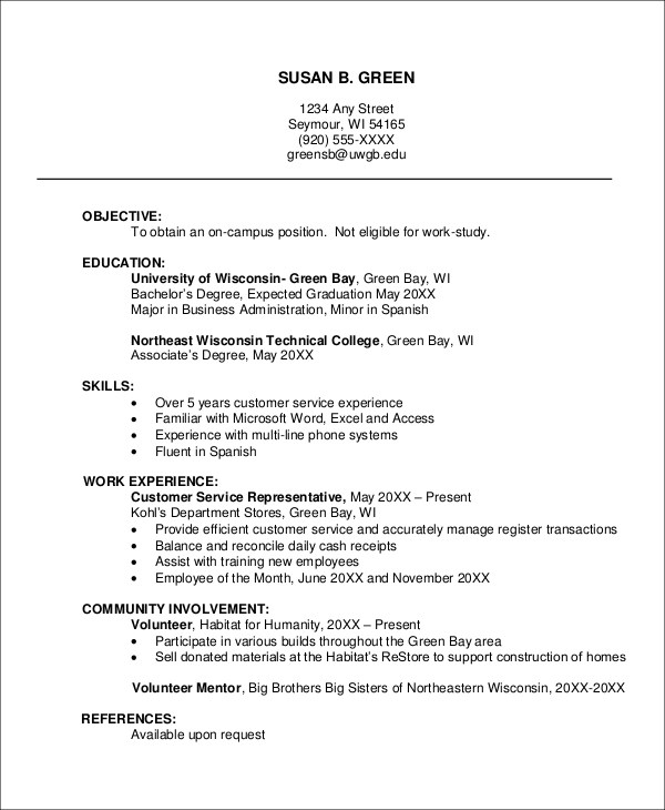College Job Resume. Example Resume Teenager How To Write Cover