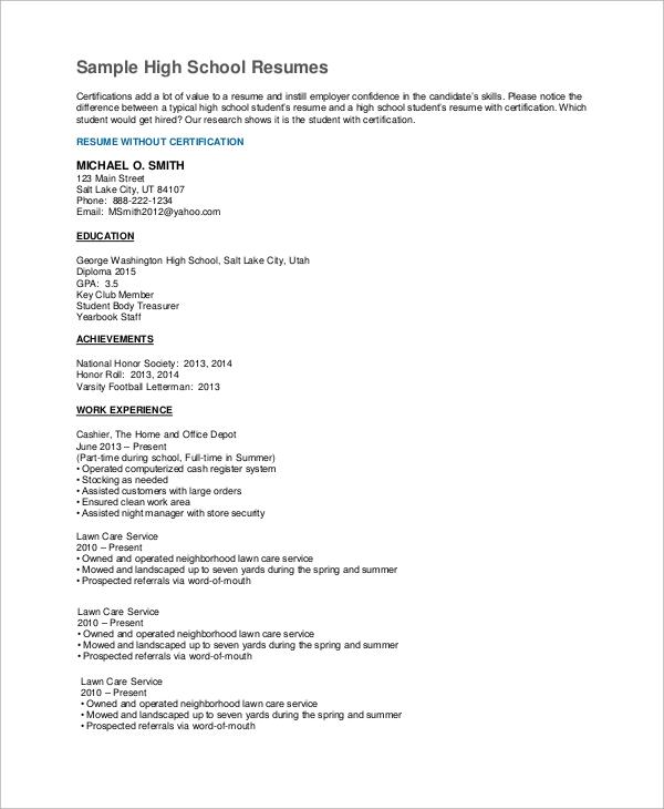 Sample High School Resume Templates In