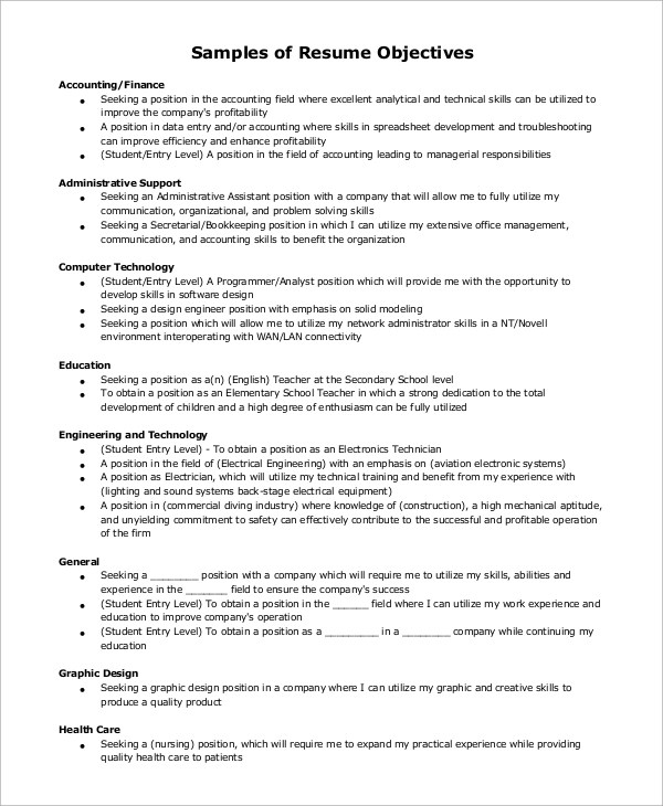 Doc612792 Resume Objective Section Examples objective section – Objective Section on Resume